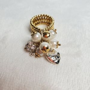 Betsey Johnson Women's Stretch Ring Faux Pearl